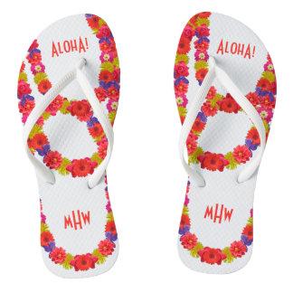 Hawaiian Lei custom monogram sandals