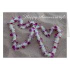 Hawaiian Lei Hearts in the Sand Anniversary Card