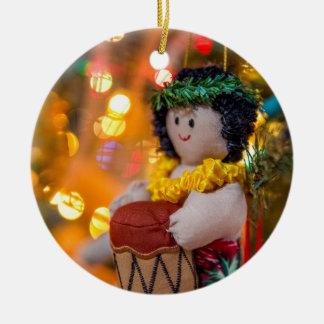 Hawaiian Little Drummer Boy Christmas Ornament