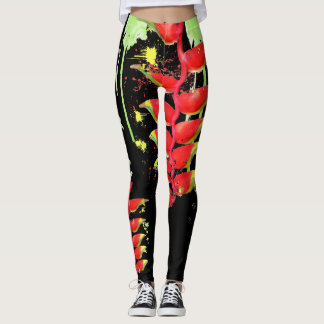 Hawaiian Lobster-Claws Heliconia Tropical Art Leggings