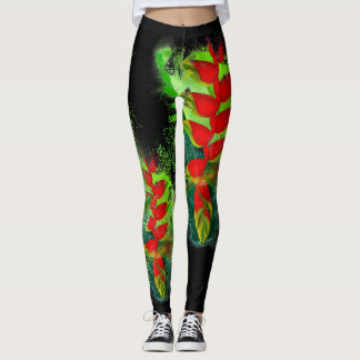 Hawaiian Lobster-Claws Heliconia Tropical Plant Leggings