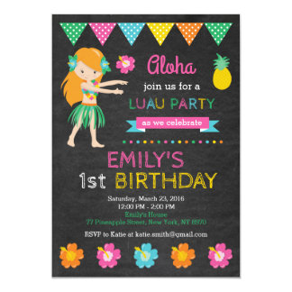 Hawaiian Luau Birthday Invitation