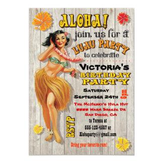 "Hawaiian Luau Birthday Party Invitations 5"" X 7"" Invitation Card"