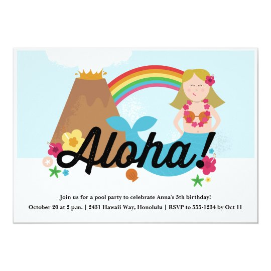 Hawaiian Luau Children's Birthday Party Invitation
