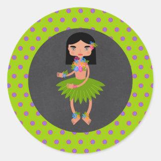 Hawaiian Luau girl Birthday Party Classic Round Sticker