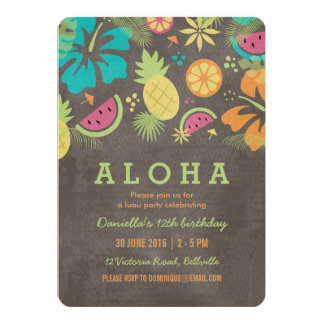 Hawaiian Luau Kids Party Invitation