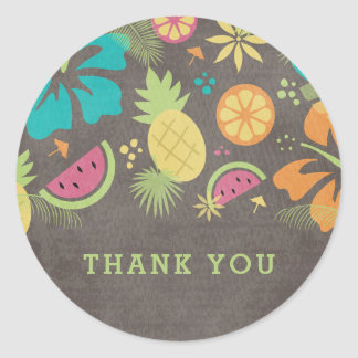 Hawaiian Luau Kids Party Thank You Classic Round Sticker