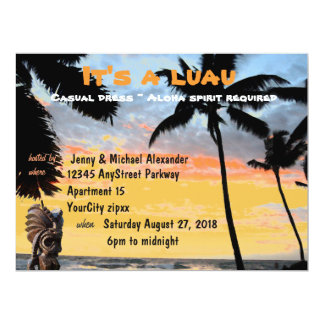 Hawaiian Luau Palm Tree Tiki 17 Cm X 22 Cm Invitation Card