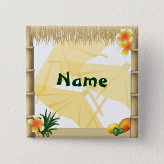Hawaiian Luau Party Name Button