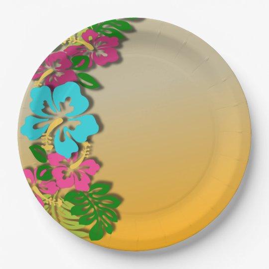 Hawaiian Luau Party Paper Plates