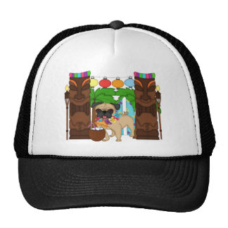 Hawaiian Luau Pug - Customizable Mesh Hats