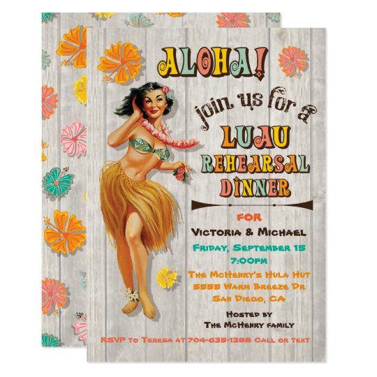 Hawaiian Luau Birthday Party Invitations