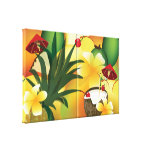 Hawaiian Luau Tropical Party Food Collage Wrapped Gallery Wrapped Canvas