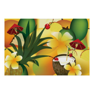 Hawaiian Luau Tropical Party Tiki Bar Poster
