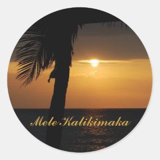 Hawaiian Mele Kalikimaka Christmas Classic Round Sticker