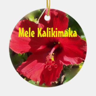 Hawaiian Mele Kalikimaka Round Ceramic Decoration