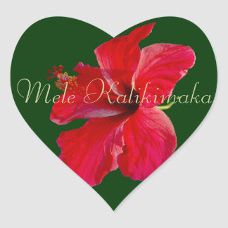 Hawaiian Merry Christmas Heart Sticker