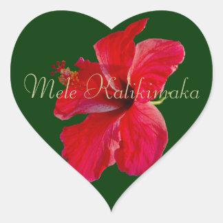 Hawaiian Merry Christmas Heart Sticker