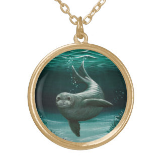 Hawaiian Monk Seal Gold Plated Necklace