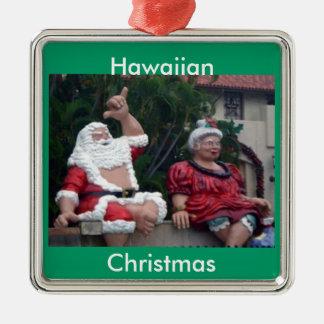Hawaiian Mr. and Mrs. Santa Ornament