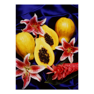 Hawaiian papayas with lilies & red ginger flowers poster