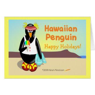Hawaiian Penguin Holiday Greeting Card