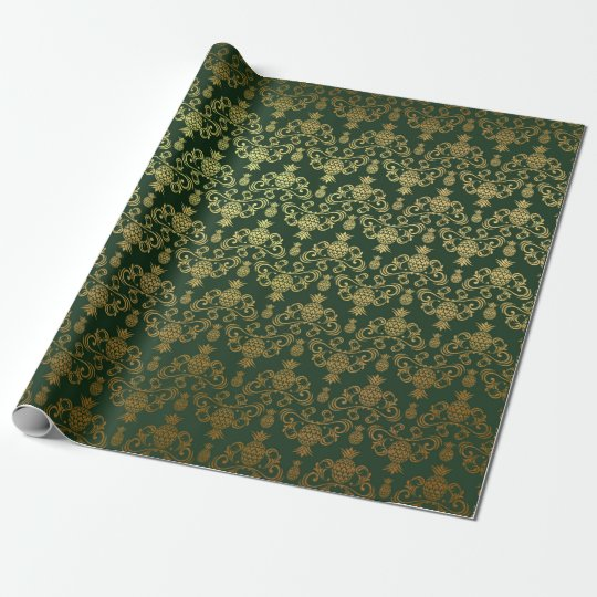 Hawaiian Pineapple Emerald Green Gold Wrapping Paper