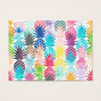 Hawaiian Pineapple Pattern Tropical Watercolor Business Card