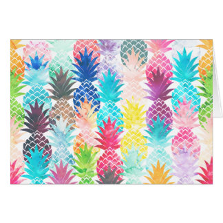 Hawaiian Pineapple Pattern Tropical Watercolor Card