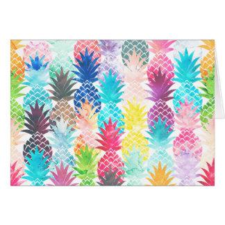 Hawaiian Pineapple Pattern Tropical Watercolor Note Card
