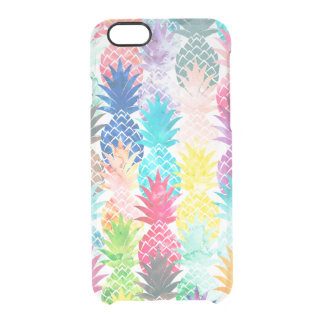 Hawaiian Pineapple Pattern Tropical Watercolor Clear iPhone 6/6S Case