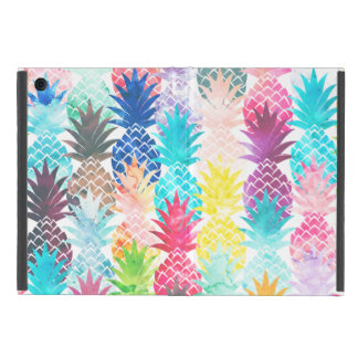 Hawaiian Pineapple Pattern Tropical Watercolor Cover For iPad Mini