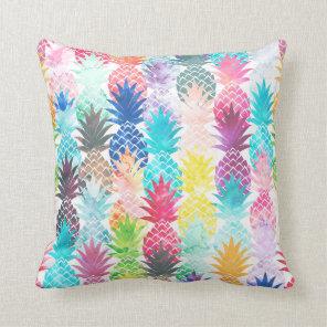 Hawaiian Pineapple Pattern Tropical Watercolor Cushion