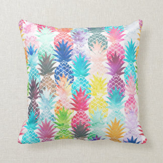 Hawaiian Pineapple Pattern Tropical Watercolor Cushion