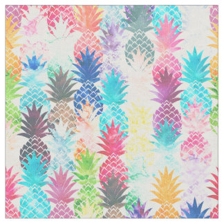 Hawaiian Pineapple Pattern Tropical Watercolor Fabric
