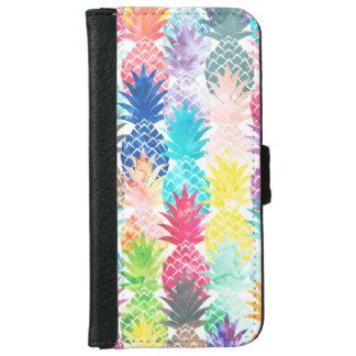 Hawaiian Pineapple Pattern Tropical Watercolor iPhone 6 Wallet Case