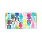 Hawaiian Pineapple Pattern Tropical Watercolor Label