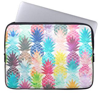 Hawaiian Pineapple Pattern Tropical Watercolor Laptop Sleeve