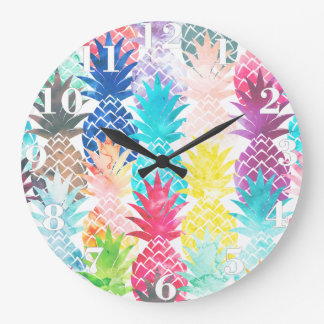Hawaiian Pineapple Pattern Tropical Watercolor Large Clock