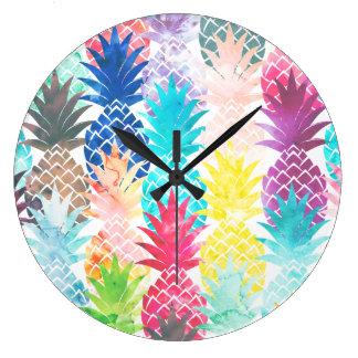 Hawaiian Pineapple Pattern Tropical Watercolor Large Clock