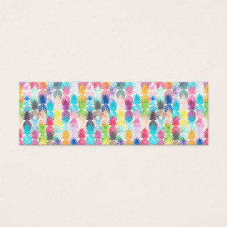 Hawaiian Pineapple Pattern Tropical Watercolor Mini Business Card
