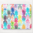 Hawaiian Pineapple Pattern Tropical Watercolor Mouse Mat