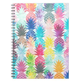 Hawaiian Pineapple Pattern Tropical Watercolor Notebooks