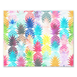 Hawaiian Pineapple Pattern Tropical Watercolor Photo Print