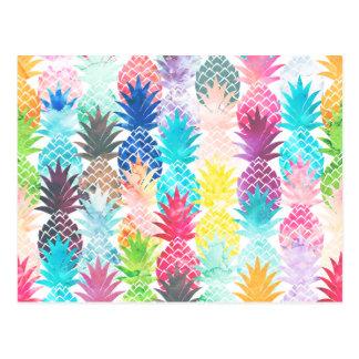 Hawaiian Pineapple Pattern Tropical Watercolor Postcard