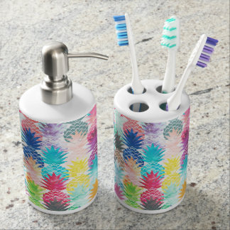 Hawaiian Pineapple Pattern Tropical Watercolor Soap Dispenser And Toothbrush Holder