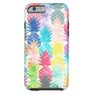 Hawaiian Pineapple Pattern Tropical Watercolor Tough iPhone 6 Case
