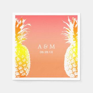 Hawaiian Pineapples Tropical Wedding Disposable Napkins