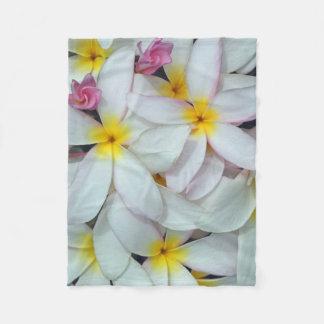 Hawaiian Plumeria Fleece Blanket