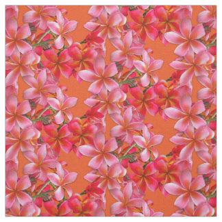 Hawaiian Plumeria Pink Flowers on Orange Fabric